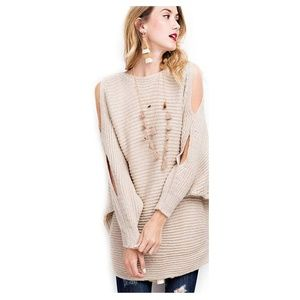 Sweaters - Cable Knit Chunky Cold Shoulder Oversized Sweater